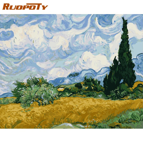 Wheat Field with Cypresses Paint by Number