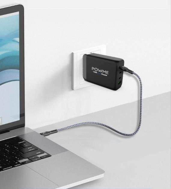 120W black wall charger charging macbook