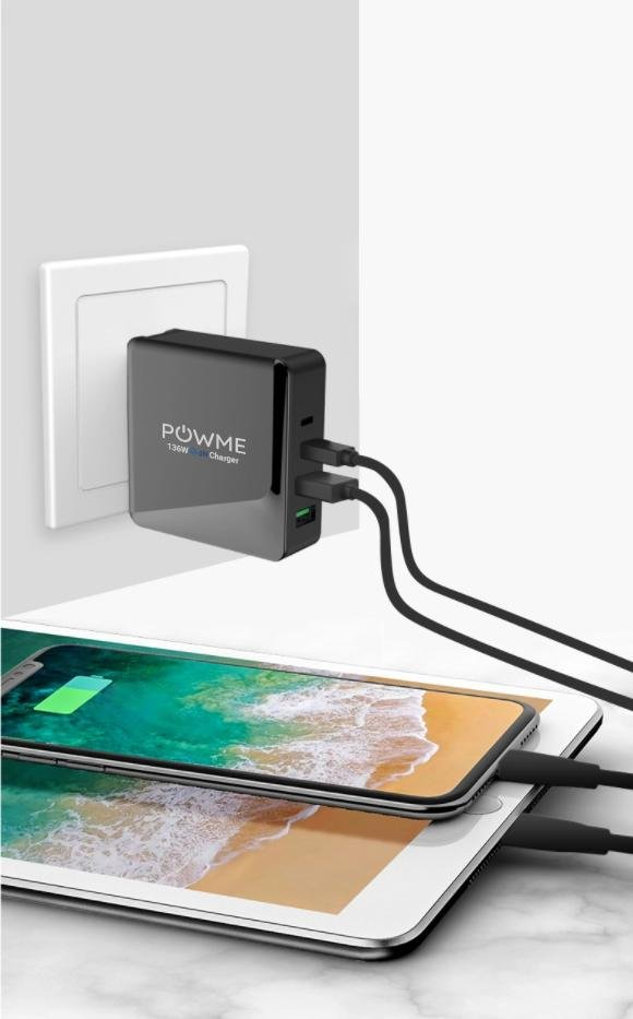 136W 4 port black wall charger charging iPad and iPhone simultaneously