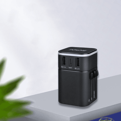 Black travel adapter with quick charge 3.0