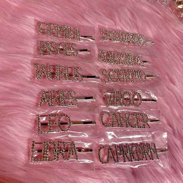 Diamond horoscope hair pins