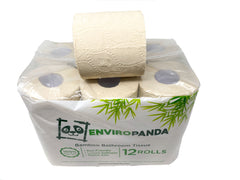 EnviroPanda 12 pack bamboo toilet paper with single row  resting on top
