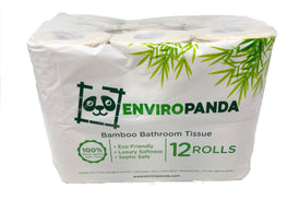 Front view EnviroPanda 12 pack bamboo toilet paper