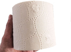 Close up view of EnviroPanda Bamboo toilet paper single roll