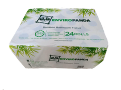 Top view of a package of 24 rolls of EnviroPanda bamboo toilet paper