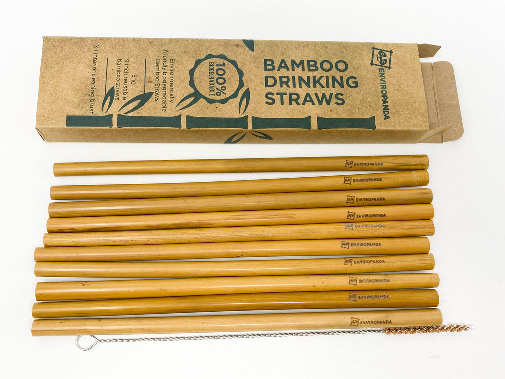 EnviroPanda Bamboo Straws packaging, straws and cleaning brush