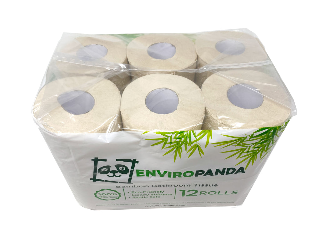 Top view of a package 12 rolls of EnviroPanda bamboo toilet paper