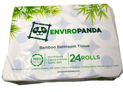 Top view of a package of 24 rolls of EnviroPanda toilet paper