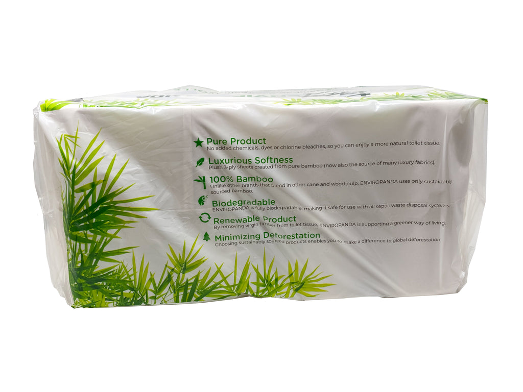Back view of a package of 24 rolls of EnviroPanda toilet paper