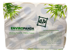 Bottom view of a package of 24 rolls of EnviroPanda toilet paper