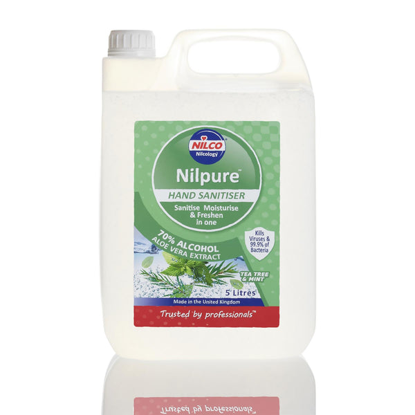 Nilco Nilpure Tea Tree and Mint Scented Hand Sanitiser - 5L x 12 with Free Nilco Sanitising Station