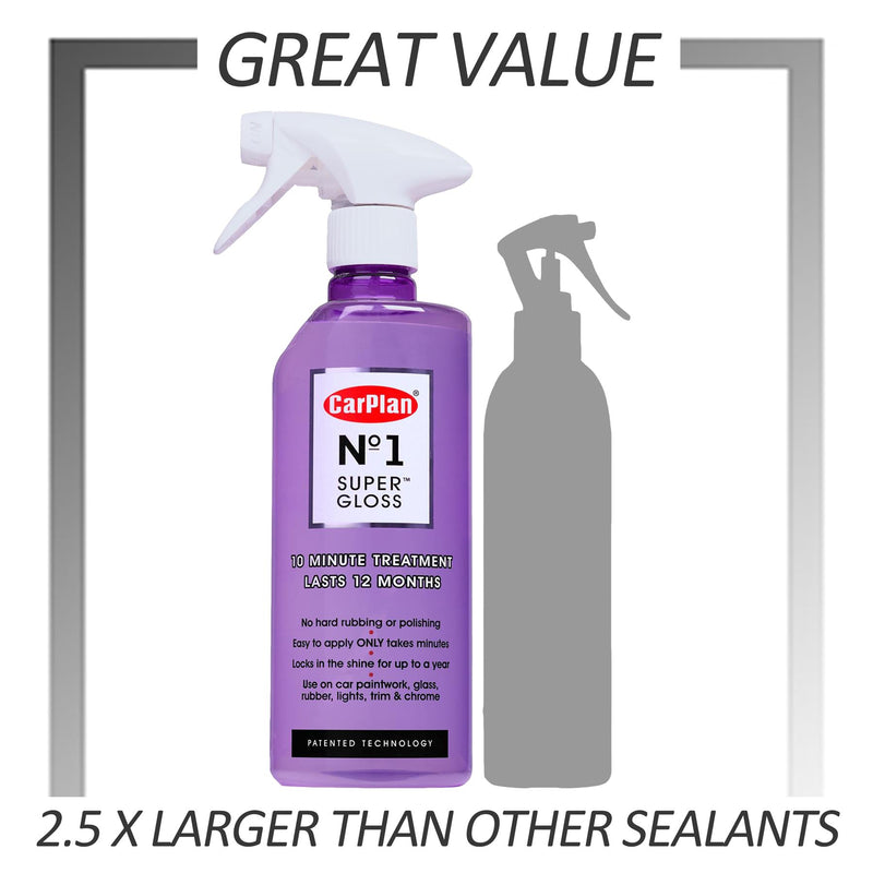 No1 Car Polish Wax - 10 min to Apply Lasts 12 months Super Gloss  Patented Hydrophobic Sealant - 600ml
