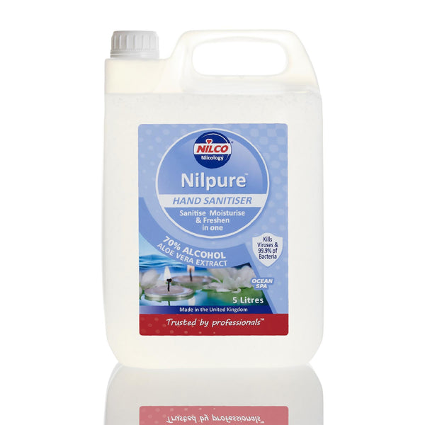 Nilco Nilpure Ocean Spa Scented Hand Sanitiser - 5L x 12 with Free Nilco Sanitising Station