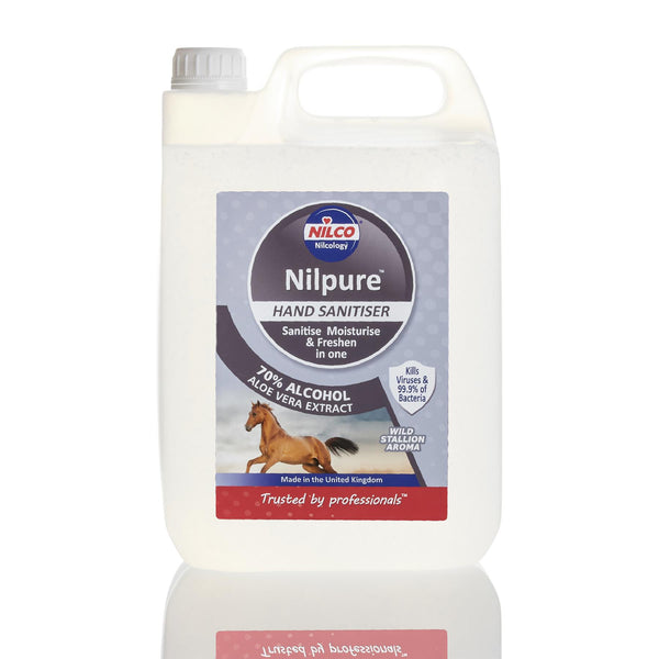 Nilco Nilpure Wild Stallion Scented Hand Sanitiser - 5L x 12 with Free Nilco Sanitising Station