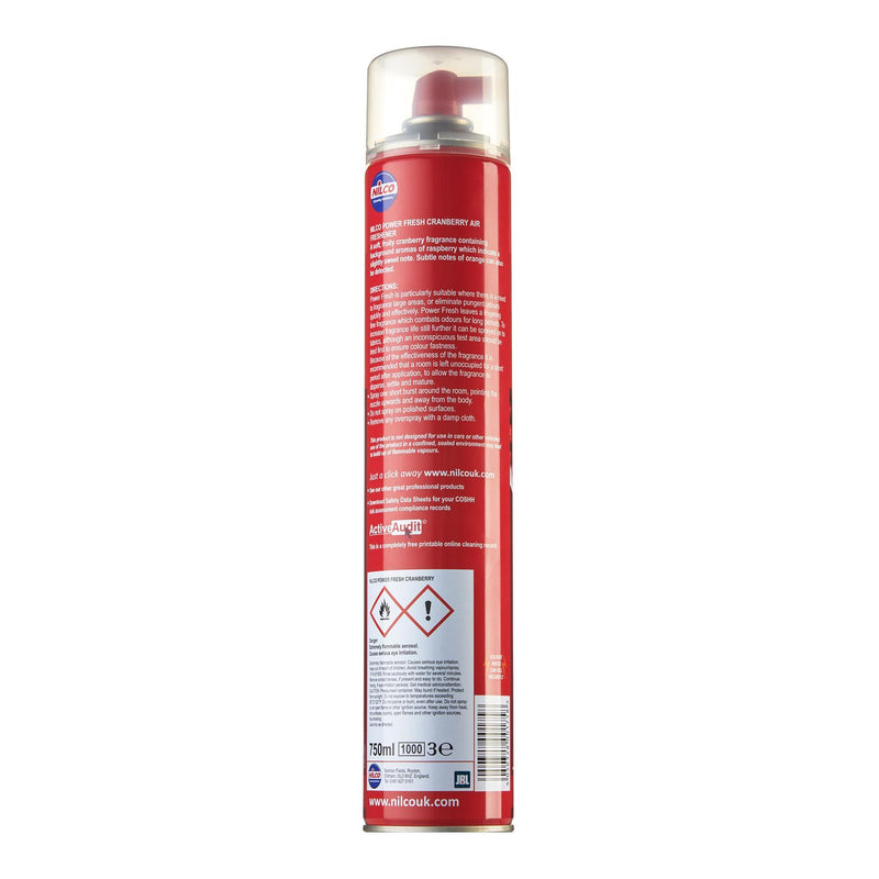 Nilco H12 Power Fresh Cranberry Aerosol Air Freshener - 750ml | Case of 6 | £4.74 Each