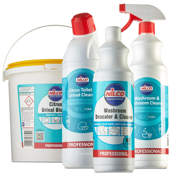 Nilco Citrus Toilet Washroom Bathroom & Urinal Descaler Cleaner Plus Blocks Bundle