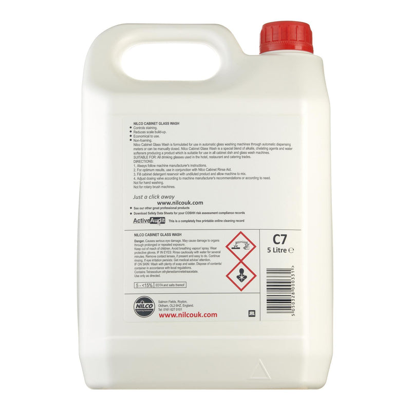Nilco C7 Cabinet Dishwasher Glass Wash - 5L | Case of 2 | £12.99 Each