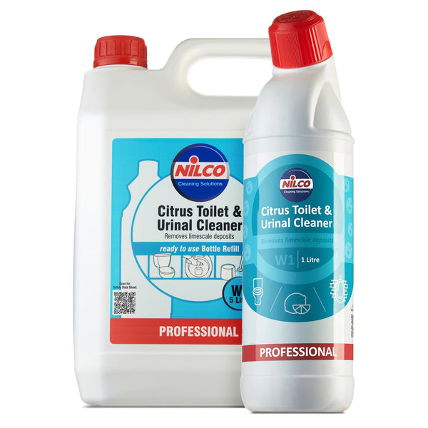 Nilco W1 Citrus Toilet & Urinal Cleaner 1 Litre Bottle + 5 Litre Refill Set