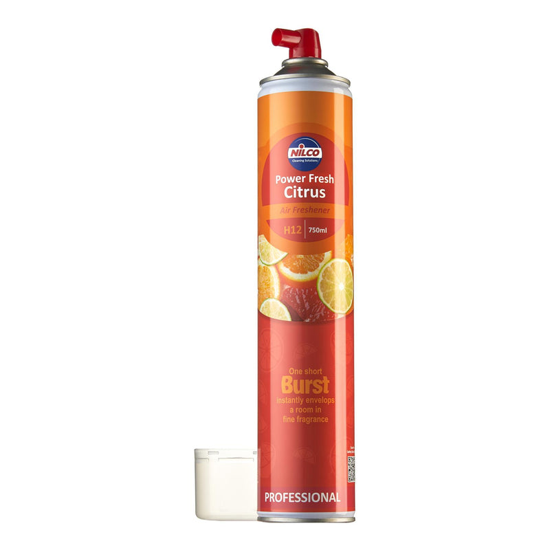 Nilco H12 Power Fresh Citrus Aerosol Air Freshener - 750ml | Case of 6 | £4.74 Each