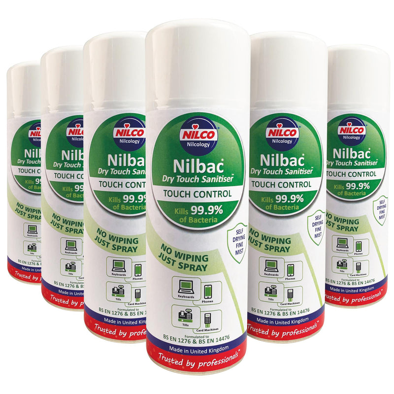Nilco Nilbac® Dry-Touch Sanitiser Touch Control Antibacterial Aerosol Spray - 400ml | Case of 6 | £6.08 Each