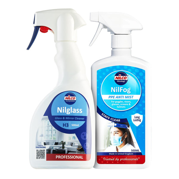 Nilco Nilfog™ PPE Anti Mist Spray & Nilco H3 Nilglass Glass & Mirror Cleaner Bundle