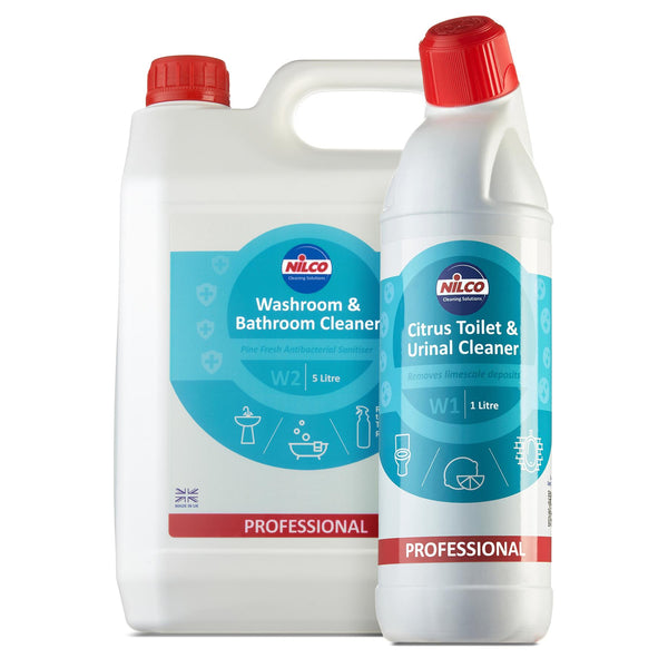 Nilco W2 Washroom & Bathroom Cleaner 1 Litre Spray + 5 Litre Refill Set