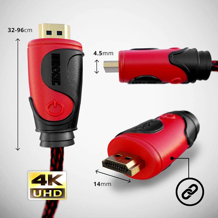 Duronic HDC03 / 0,5m Cable HDMI 2.0 / 0,5 m / Ethernet / 3D / Vídeo 4k / 2160p