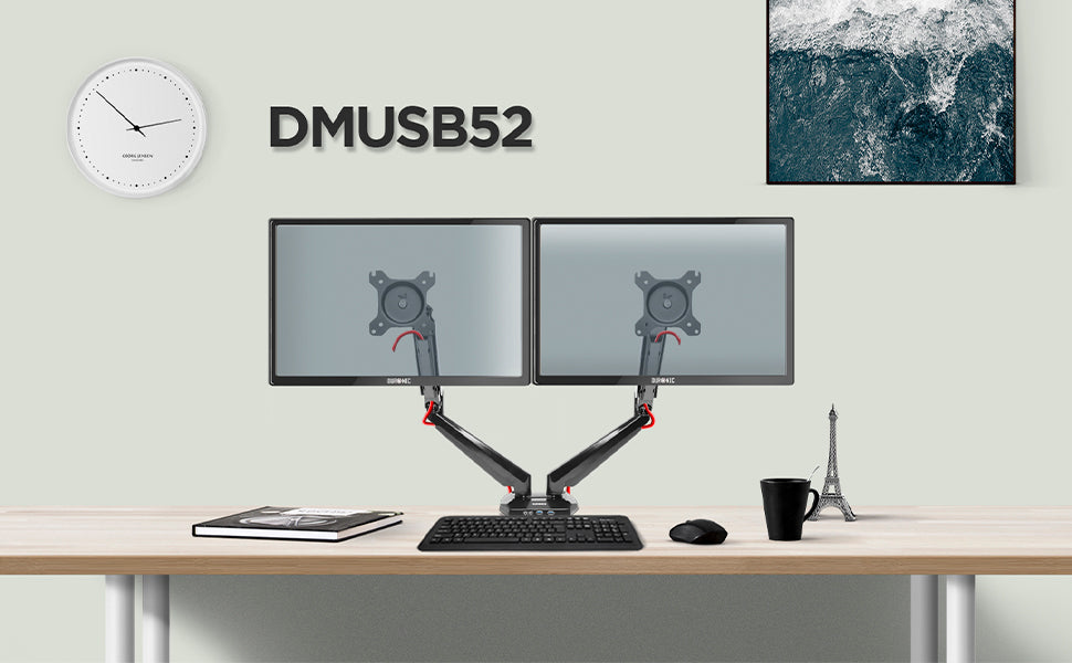 dmusb5x2, silver, desk, mount, bracket, stand, support, riser, arm, double, two, twin, duo, dual, office, computer