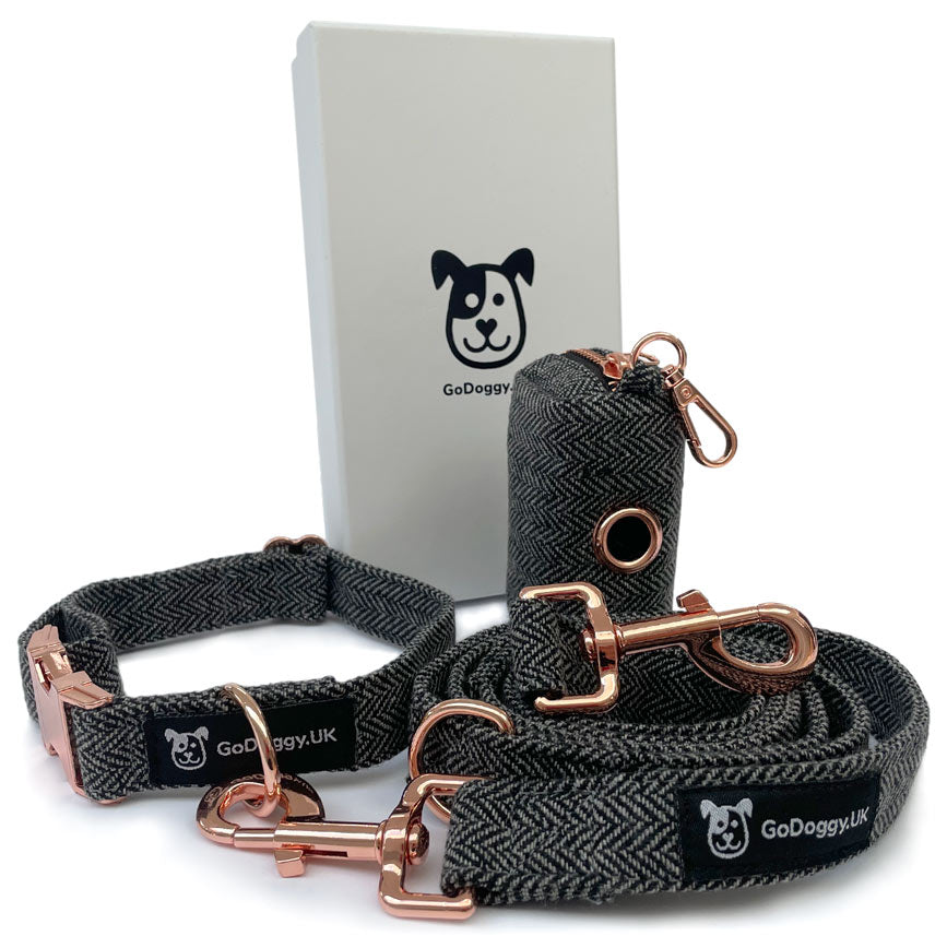 Grey Tweed Dog lead set, with Rose Gold metal work, by GoDoggy