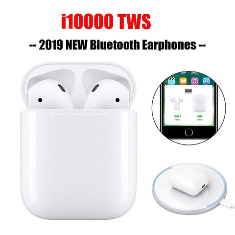 i10000 TWS Bluetooth Earphone Wireless Charging Headset Touch Control Earbuds tws i10000 Pop Up Earphones For Android/ IOS