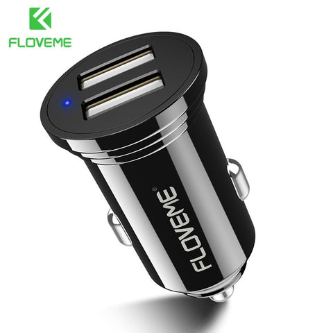 FLOVEME 3.6A Fast Car USB Charger For iPhone Dual 2 Port Quick USB Car Charger For Samsung Phone LED Digital Display Car-charger