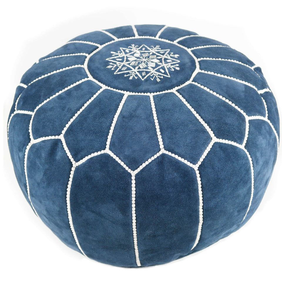 Moroccan suede Leather Pouf - Decorative Ottoman Footstool (Denim)