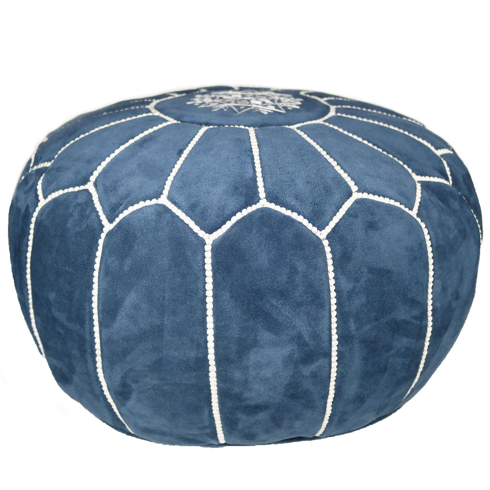 Moroccan suede Leather Pouf - Decorative Ottoman Footstool