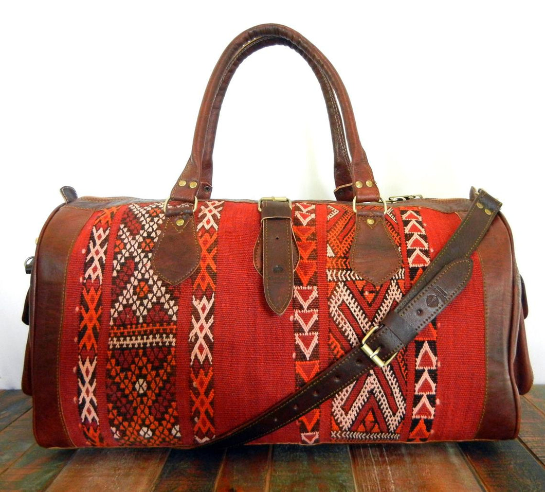 Vintage Kilim Duffle - Limited Edition! leather duffle, kilim bag, men duffle, women duffle, weekender, carryon, overnight bag, Berber Rug