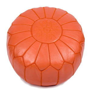 "Moroccan Pouf Ottoman 20"" x 12"" Orange Un-Stuffed"