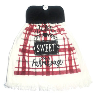 "Pot Holder Top ""Home Sweet Farmhouse"" Dish Towel"