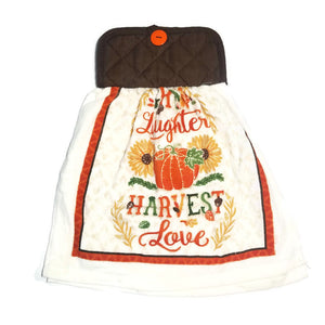 "Pot Holder Top ""Grow Laughter & Harvest Love"" Dish Towel"