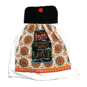 "Pot Holder Top ""Our Home Is Made With Love"" Dish Towel"