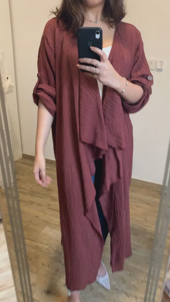 Load and play video in Gallery viewer, Crinkle Cardigan Abaya - Eco-Friendly For Summer