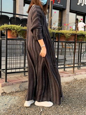 The Libra Stripped Abaya - Crinkle Cotton - Online Shopping - The Untitled Project