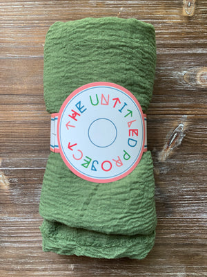 Avocado Green - Crinkle Organic Cotton Scarf - The untitled project