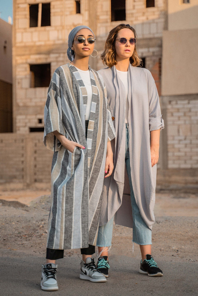 The Sally Jilbab - Stripped Natural Linen - The untitled project