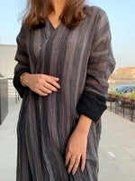 The Libra Stripped Abaya - Crinkle Cotton