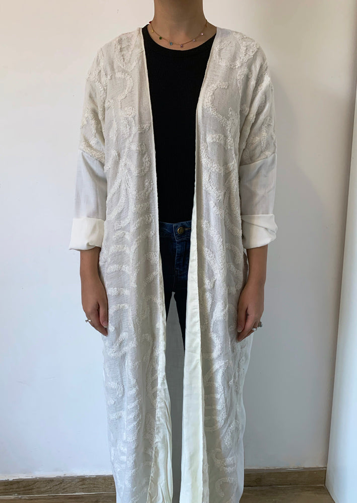 Cotton white embroidered abaya - Online Shopping - The Untitled Project