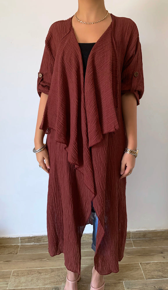 Crinkle Cardigan Abaya - Eco-Friendly For Summer - The untitled project