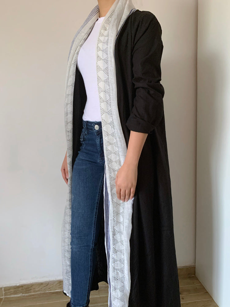 Stylish black scarfed abaya - The untitled project