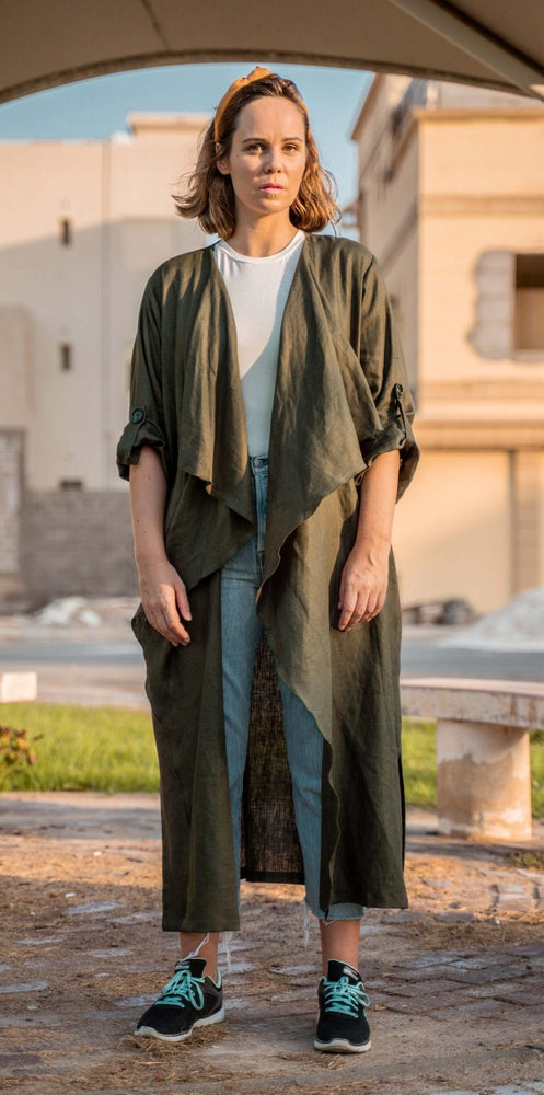 The Trend Setter - Linen cardigan abaya - The untitled project