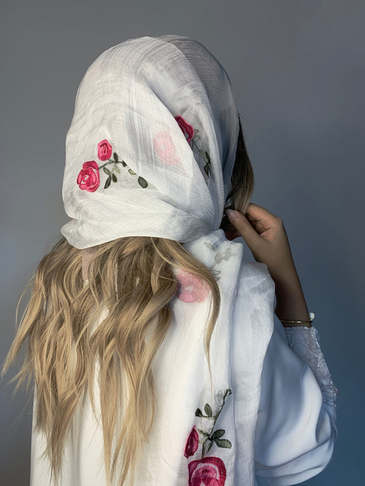 Floral embroidered cotton scarf