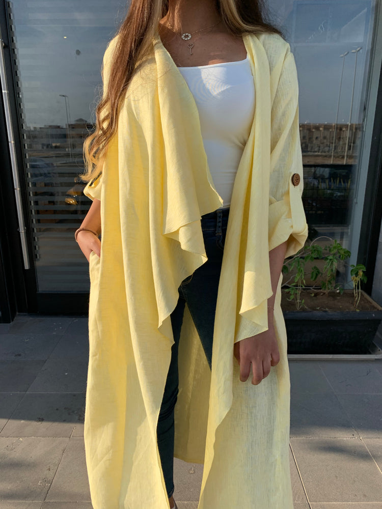 The Trend Setter - Linen cardigan abaya