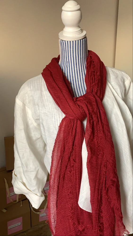 Cranberry - Crinkle Organic Cotton Scarf - The untitled project
